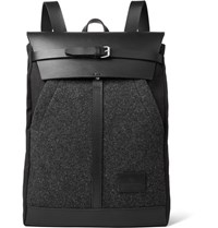 Atelier De L'armee Leather Trimmed Melange Wool And Canvas Backpack Dark Gray