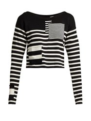 Altuzarra Cousteau Patch Detailed Striped Ribbed Knit Top Black White