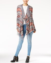 Almost Famous Juniors' Striped Fringe Waterfall Cardigan Navy Rust