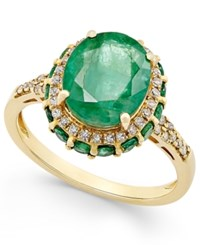 Macy's Emerald 3 1 2 Ct. T.W. And White Sapphire 1 3 Ct. T.W. Oval Ring In 10K Gold Green