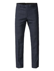 Limehaus Ardley Navy Black Check Slim Fit Trousers Blue