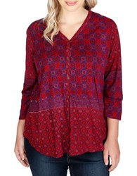 Lucky Brand Plus Three Quarter Sleeve Blouse Raspberry