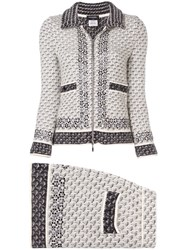 Chanel Vintage Knitted Skirt Suit Grey
