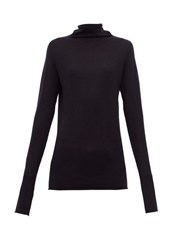 Raey Sheer Raw Edge Funnel Neck Cashmere Sweater Navy
