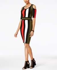 Xoxo Juniors' Colorblocked Cold Shoulder Bodycon Dress Olive