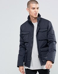 Armani Jeans Field Jacket With 4 Pockets Water Repellent Navy