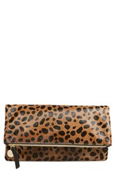 Clare V. Genuine Calf Hair Leopard Print Foldover Clutch