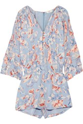 Joie Mani Printed Silk Playsuit Sky Blue