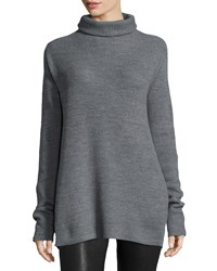Halston Long Sleeve Turtleneck Sweater Heather Gray Heather Grey