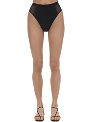 Stella Mccartney Sporty High Waist Mesh Bikini Bottoms Black