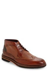 Ted Baker Men's London Cinika Wingtip Chukka Boot Tan Dark Brown Leather