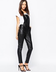 Goldie Jump To The Beat Faux Leather Dungarees Black