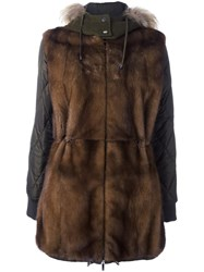 P.A.R.O.S.H. Zipped Hooded Coat Brown