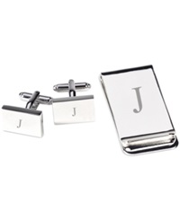 Bey Berk Monogrammed Silver Plated Rectangular Design Cufflinks And Money Clip Gift Set J