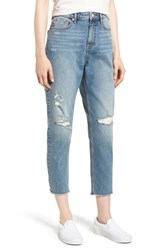 Vigoss Distressed Crop Mom Jeans Light Wash