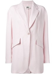 Maison Martin Margiela Mm6 Striped Blazer Pink Purple