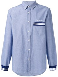 Love Moschino Striped Detail Loose Fit Shirt Blue