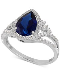 Macy's Lab Created Sapphire 2 3 8 Ct. T.W. And White Sapphire 3 8 Ct. T.W. Ring In Sterling Silver