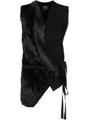 Ann Demeulemeester Tied Mixed Material Gilet Black