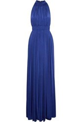 Catherine Deane Gathered Pleated Stretch Jersey Gown Bright Blue