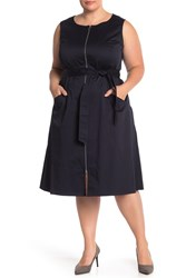 Lafayette 148 New York Karizza Dress Plus Size Navy