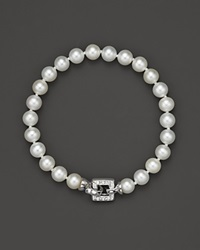 Bloomingdale's Cultured Freshwater Pearl Bracelet With Diamond Accent Clasp 7Mm White