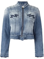 Walter Van Beirendonck Vintage Cropped Denim Jacket Blue