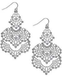 Bar Iii Silver Tone Crystal Lace Chandelier Earrings Only At Macy's