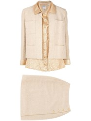 Chanel Vintage Three Piece Skirt Suit Gold