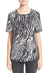 Equipment 'Riley' Zebra Print Silk Tee Marshmellow True Black