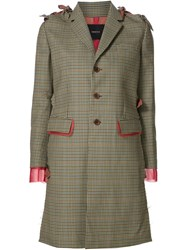 Undercover Check Print Bow Detail Coat Green