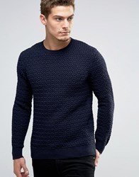 Esprit Crew Neck Knit With Loose Weave Detail Navy 400