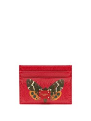 Dolce And Gabbana Butterfly Print Leather Cardholder Red Multi