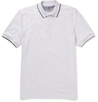 Brunello Cucinelli Slim Fit Contrast Tipped Melange Cotton Jersey Polo Shirt Gray