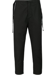 Stampd Strap Detail Tapered Trousers Black
