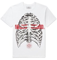 Neighborhood Printed Cotton Jersey T Shirt White