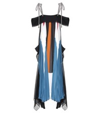 Chloe Plissee Pleated Off The Shoulder Dress Multicoloured