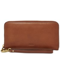 Fossil Emma Leather Large Zip Clutch Wallet Brown
