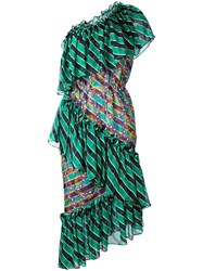 Marco De Vincenzo Striped Ruffle Dress Women Silk Polyester 44 Green