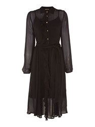 Biba Frill Front Belted Button Through Dress Black