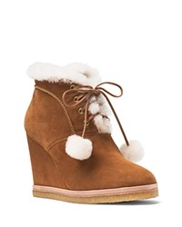 Michael Kors Chadwick Suede And Shearling Wedge Booties Dark Luggage