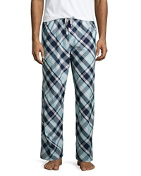 Psycho Bunny Plaid Drawstring Lounge Pants Navy Pink
