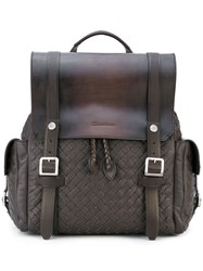 Santoni Woven Buckle Backpack Men Leather One Size Brown