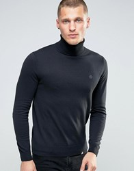 Pretty Green Jumper With Roll Neck In Slim Fit Black Black