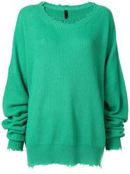 Unravel Project Oversized Distressed Jumper Green