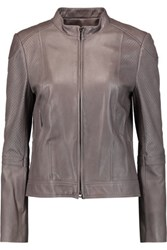 Tory Burch Brandy Perforated Leather Jacket Gray