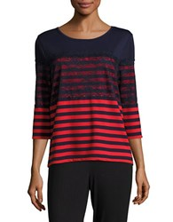Karl Lagerfeld Striped Lace Three Quarter Sleeved Top Marine