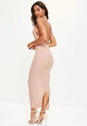 Missguided Pink High Neck Low Back Maxi Dress