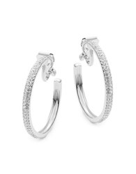 Nadri Silvertone Pave Clip On Hoop Earrings 1.25 In