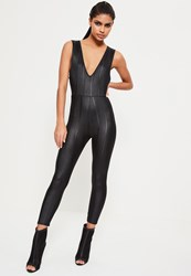 Missguided Black Shine Bandage Sleeveless Skinny Romper